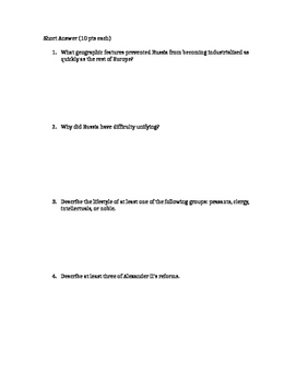 Russian Revolution Multiple choice and short answer & Essay Unit Test