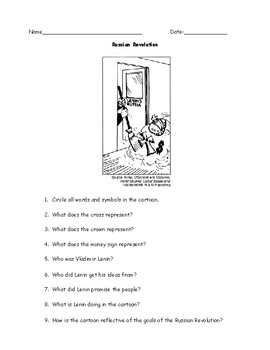 Russian Revolution Political Cartoon Worksheet with Answer Key
