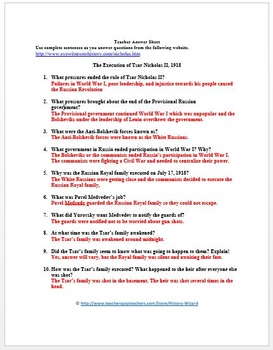 Russian Revolution Primary Source Worksheet: Execution of Czar Nicholas II