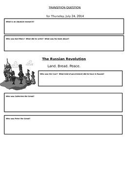 Russian Revolution Worksheets