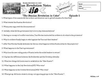 Russian Revolution in Color Viewing Notes with Quiz