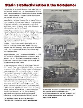 Russian Revolution & the Holodomor Reading Worksheet
