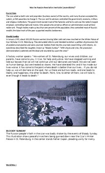 Russian Revolution unit - czar rule, causes, worksheets, activities, crq, exam