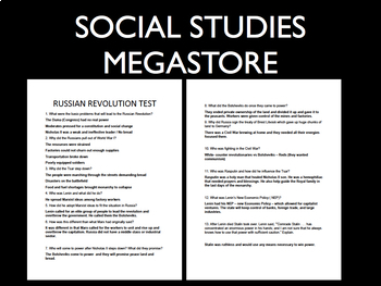 Russian Revolution Test written and group World History Free