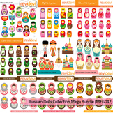 Russian dolls collection clip art mega bundle (9 packs)