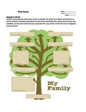 Russian language lesson- family tree template, student worksheet