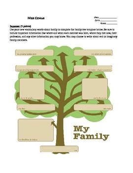 Russian Language Lesson Family Tree Template Student Worksheet