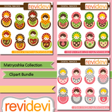 Russian nesting dolls clip art - Matryoshka bundle (3 packs)