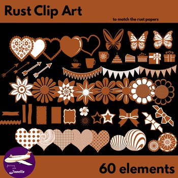 Rust Brown Clip Art Decoration Scrapbooking Elements - 60 items