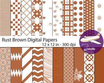 Rust Brown Digital Papers for Backgrounds, Scrapbooking, Classroom Decorations