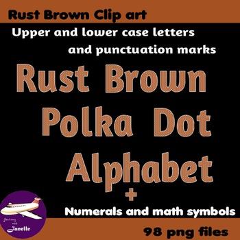 Rust Brown Polka Dot Alphabet Clip Art + Numerals, Punctuation and Math Symbols