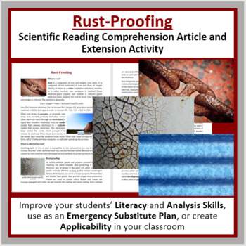 Rust-Proofing Comprehension Reading Article - Grade 8 and Up