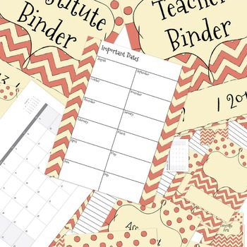 UPDATED Rust Red Chevron Teacher Binder Dividers, Calendar, Note Pages, Papers