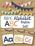 ~Rustic, Burlap~ Alphabet ABC Poster Set!