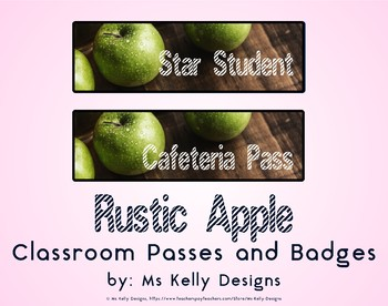 Rustic Apple Classroom Passes and Badges