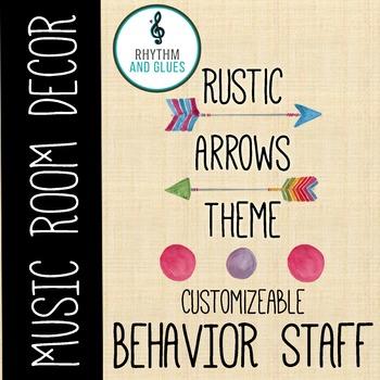 Rustic Arrows Music Room Theme - Behavior Staff, Rhythm and Glues