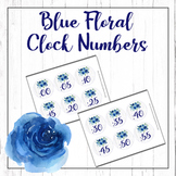 Rustic Blue Floral Clock Number Labels