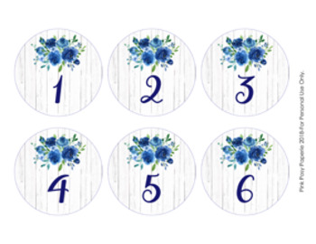 Rustic Blue Floral Cubby Number Labels 1-30