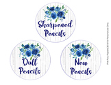 Rustic Blue Floral Pencil Caddy Labels
