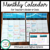 Monthly Calendar (Editable) Blue Rustic Wood