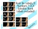 Rustic Book Bin Labels A-Z & Numbers 1-30 Editable!