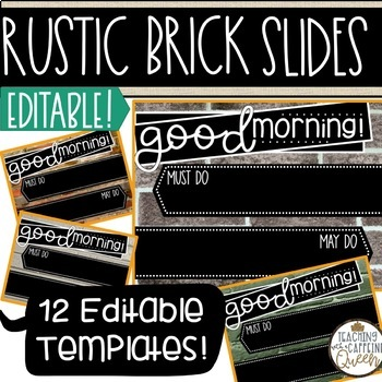 rustic brick editable morning message templates powerpoint slides