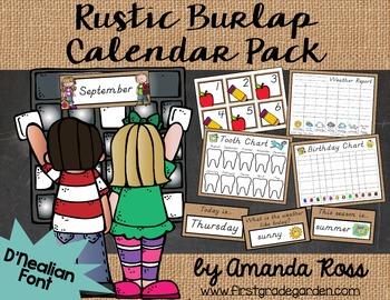 Rustic Burlap Calendar Pack {D'Nealian Font}