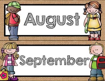 Rustic Burlap Calendar Pack {Regular Primary Font}