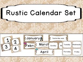 Rustic Burlap Calendar Set