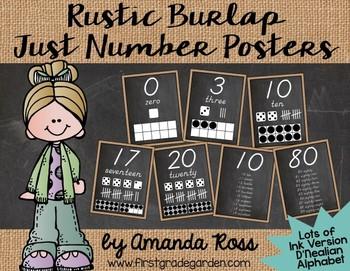 Rustic Burlap & Chalkboard Just Number Posters {Lots of Ink - D'Nealian}