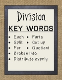 Rustic Burlap & Chalkboard Multiplication and Division Key Words Posters