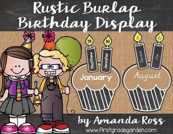 Rustic Burlap Classroom Birthday Chart