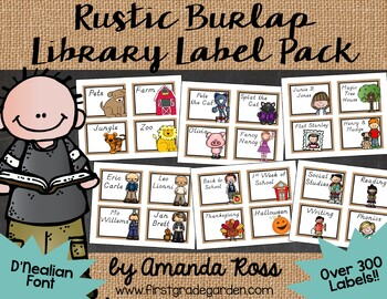 Rustic Burlap Classroom Library Labels & Matching Book Sti