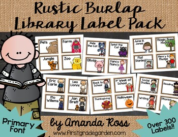 Rustic Burlap Classroom Library Labels & Matching Book Stickers {Primary Font}