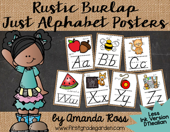 Rustic Burlap Just Alphabet Posters {Less Ink Version - D'Nealian}