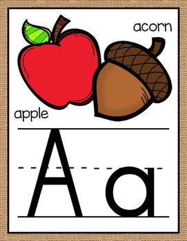 Rustic Burlap Just Alphabet Posters {Less Ink Version - Regular Primary Font}