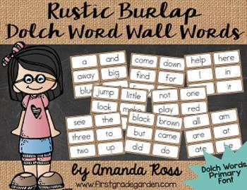 Rustic Burlap Sight Word Cards {Dolch Edition - Regular Pr