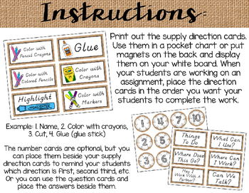 Rustic Burlap Supply Direction Cards {Less Ink Version - D'Nealian Font}