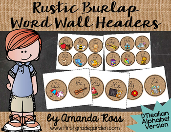 Rustic Burlap Word Wall Headers {Lots of Ink Version - D'Nealian}