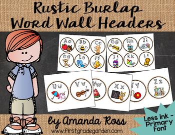 Rustic Burlap Word Wall Headers {Less Ink Version - Regular Primary Font}