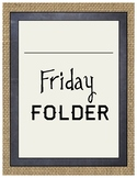 Rustic Burlap and Chalkboard Friday Folder Cover