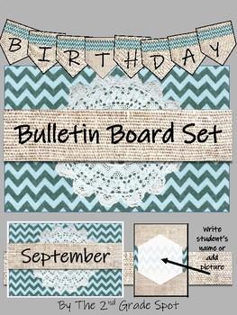 Rustic Burlap and Chevron Birthday Set