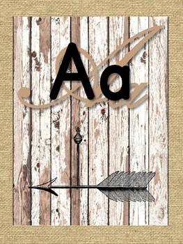 Rustic Burlap and Wood Alphabet