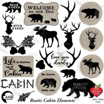 Rustic Cabin Clipart, Antlers, Bear, Wood, Rustic Logs, Lodge Decor, AMB-1870