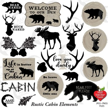 Rustic Cabin Clipart, Antlers, Bear, Wood, Rustic Logs, Lodge Decor, AMB-1870