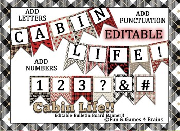 Rustic Cabin Themed EDITABLE Bulletin Board Banner