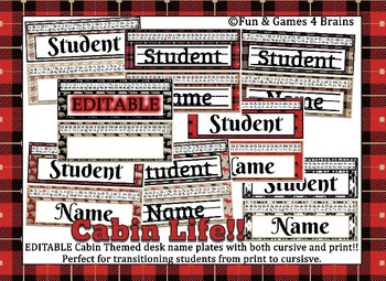 Rustic Cabin Themed editable nameplates with alphabet strips