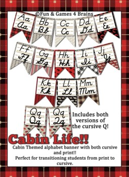 Rustic Cabin themed cursive and print Alphabet Strip Banner