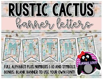 Rustic Cactus Decor Banner Letters