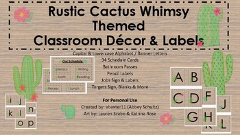 Rustic Cactus Whimsy Lights Classroom Décor & Labels